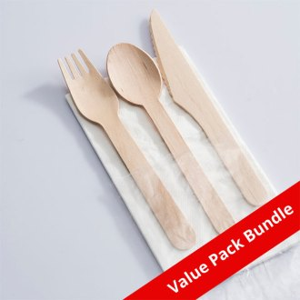 Wooden Cutlery Set With Napkin VALUE PACK BUNDLE