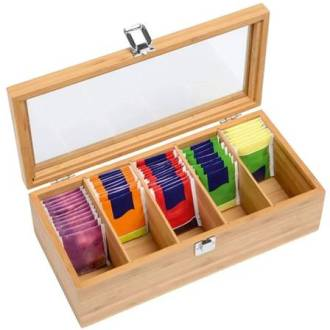 Tea chest 5 compartment with see through window lid