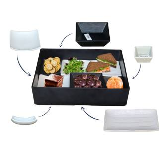reusable melamine lunch box for serving at conferencing and buffets, looks elegant and it is easy to wash. comes in two different colours, white or black