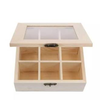 wooden tea chest 9 compartment