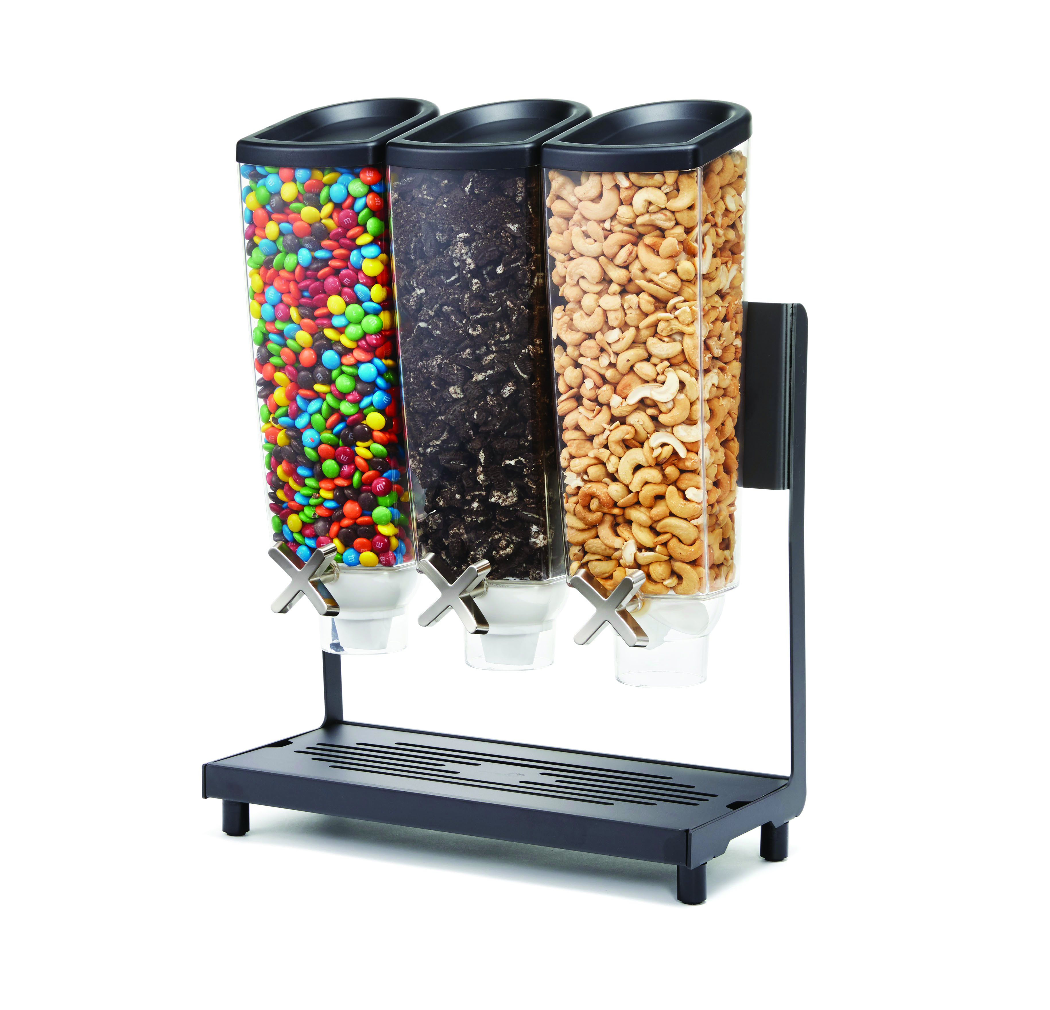 Cereal Dispenser 3 Compartment with Black base