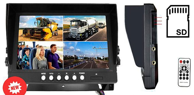 9'' AHD car monitor with quad and recording function