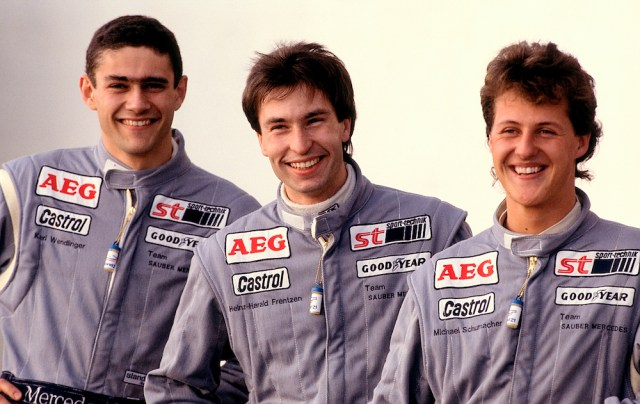 Wendlinger (links), Frentzen, Schumacher