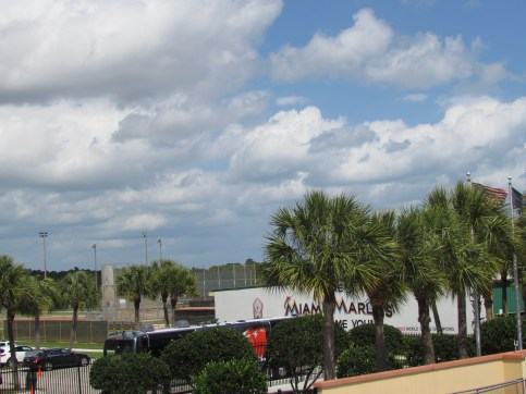 View into the Marlins complex behind LF
