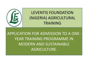 2019/2020 Leventis Foundation (Nigeria) Agricultural Training Programme (All Expences Paid)