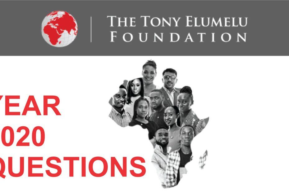 2020 TONY ELUMELU FOUNDATION QUESTIONS (PDF DOWNLOAD)