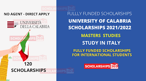 University of Calabria Scholarship(Fully Funded) HOST COUNTRY: ITALY