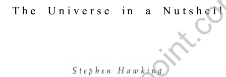 The Universe in a Nutshell By Stephan Hawking Full Book Download