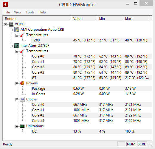 HW laptop temp monitor