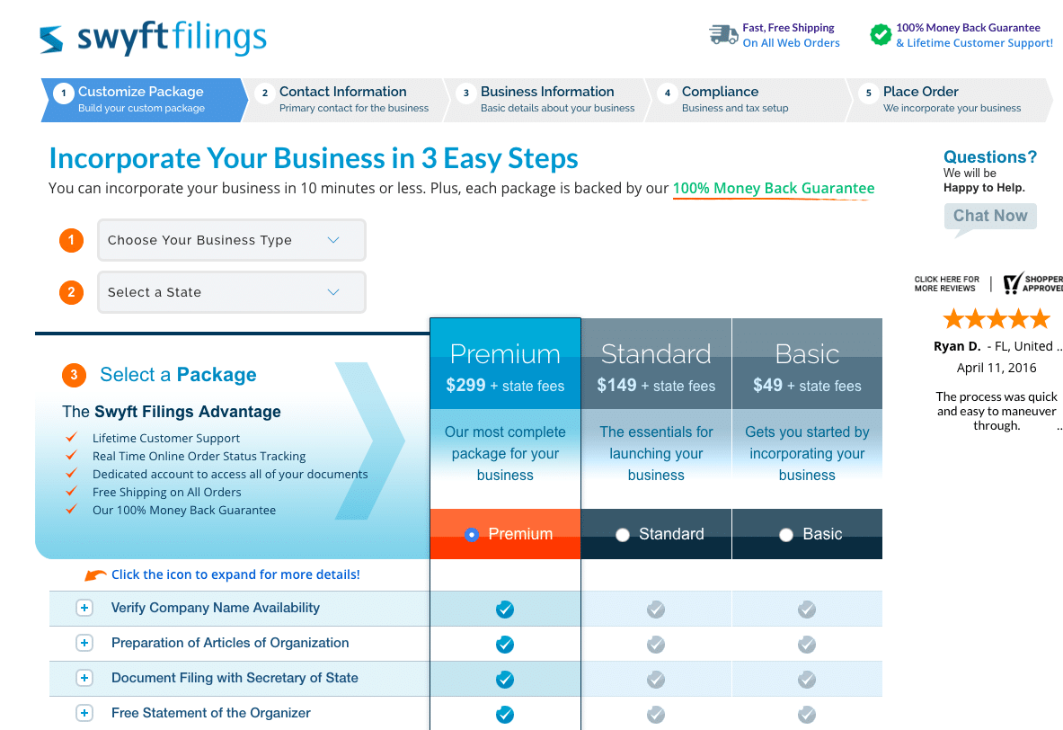 Swyft filings Prices