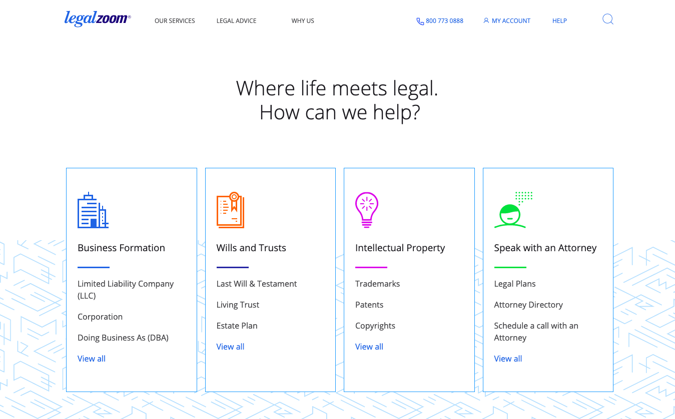 legalzoom services website