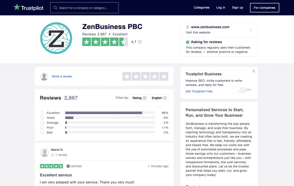 ZenBusiness Trustpilot reviews July 2020