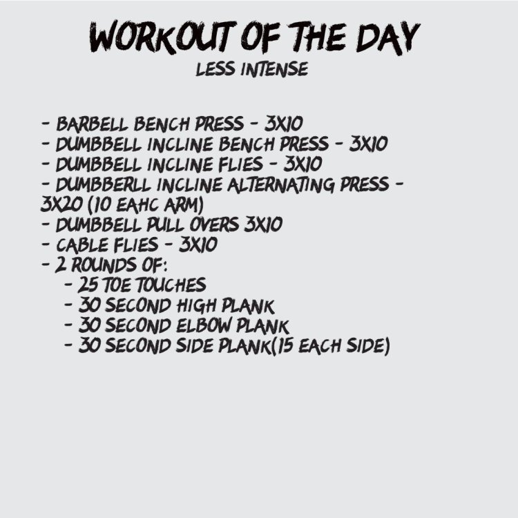chest workout of the day