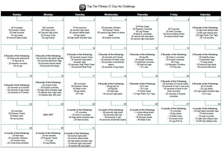 31-Day Ab Challenge Calendar