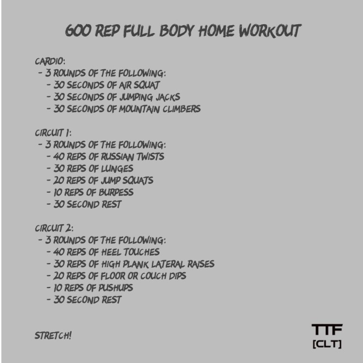 600 Rep Full Body Home Workout