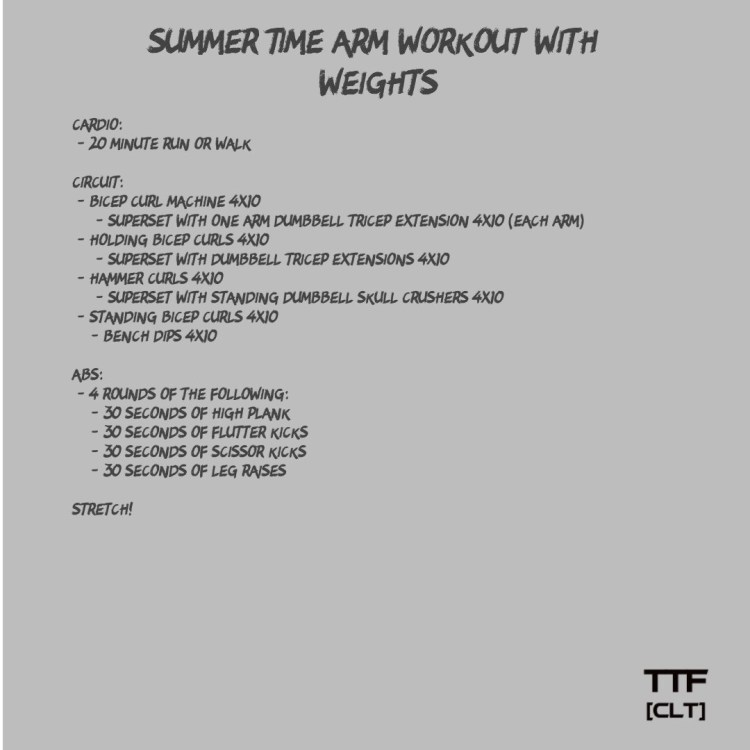 Summer Time Arm Workout with Weights