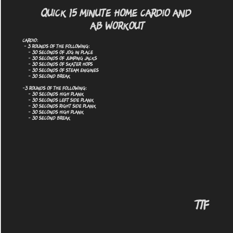 Quick 15 Minute Home Cardio and Ab Workout