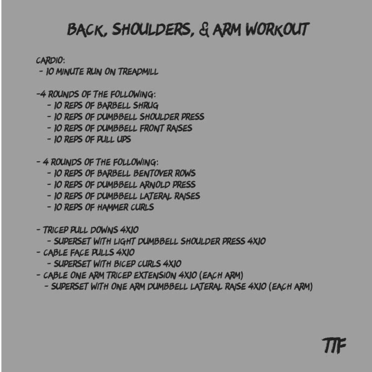 Back, Shoulders, & Arm workout
