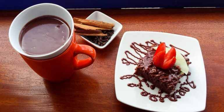 Hot chocolate and brownie in the Choco Museo, Peru