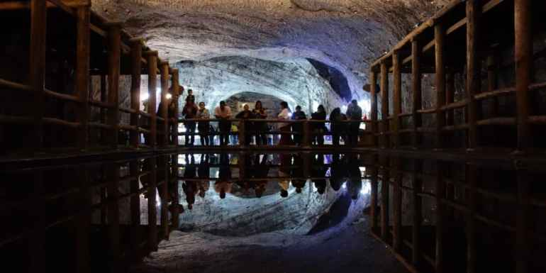 Mirror lake in the Salt Cathedral, Zipaquira, Colombia