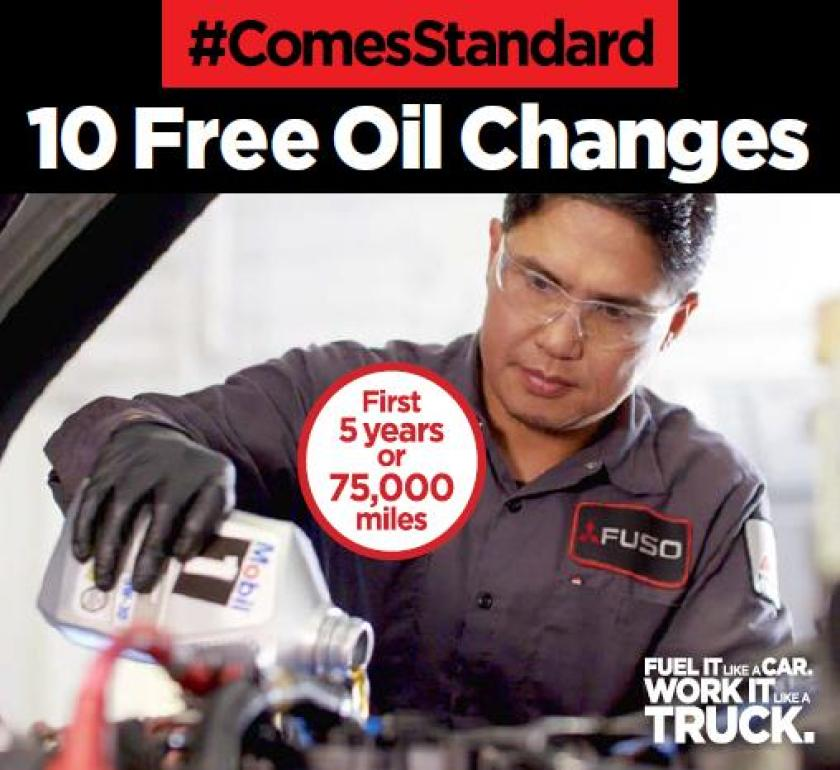 For every purchase of a new 2019 thru 2021 FUSO FE GAS truck, you'll receive up to 10 free oil changes at any FUSO dealership during the first 5-years/75,000 miles. This includes oil and filter changes every 7,500 miles for standard duty or every 5,000 miles for severe duty applications. During your oil change visit, your truck will also receive a free, multi-point service inspection.