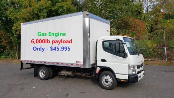 2019 Mitsubishi-Fuso FE140 gas engine with a 16' Morgan Alum Dry Van body, 14,500 GVW. Selling Price - $45,995