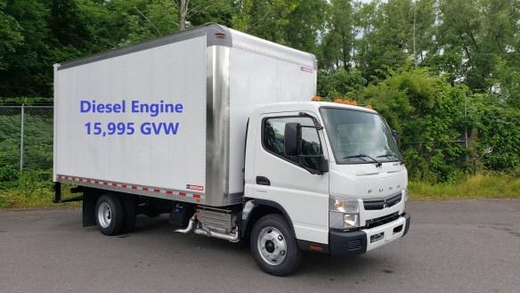 2018 Mitsubishi-Fuso FE160 diesel with Morgan 16′ van body, 15,995 GVW    Selling Price - $49,995