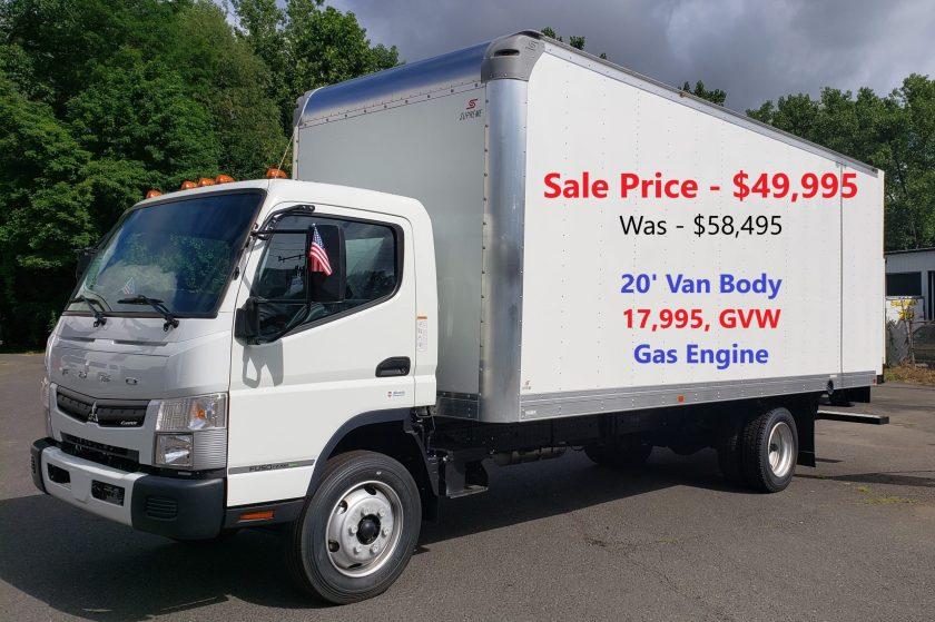 2020 Mitsubishi-Fuso FE180 Gas with 20′ Supreme Alum Van Body, 17,995 GVW. Selling Price – WAS $58,945 NOW – $49,995