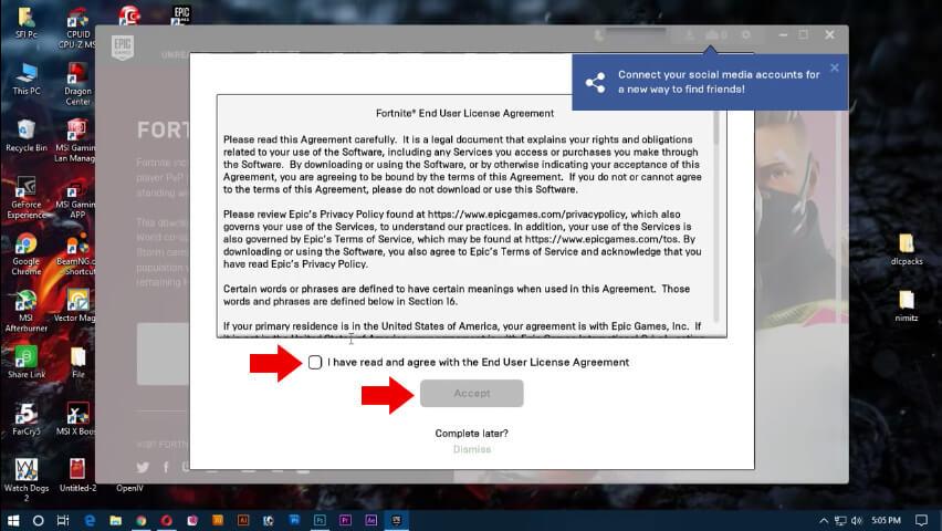 قراءة وقبول اتفاقية ترخيص الاستخدام لـ Fortnite