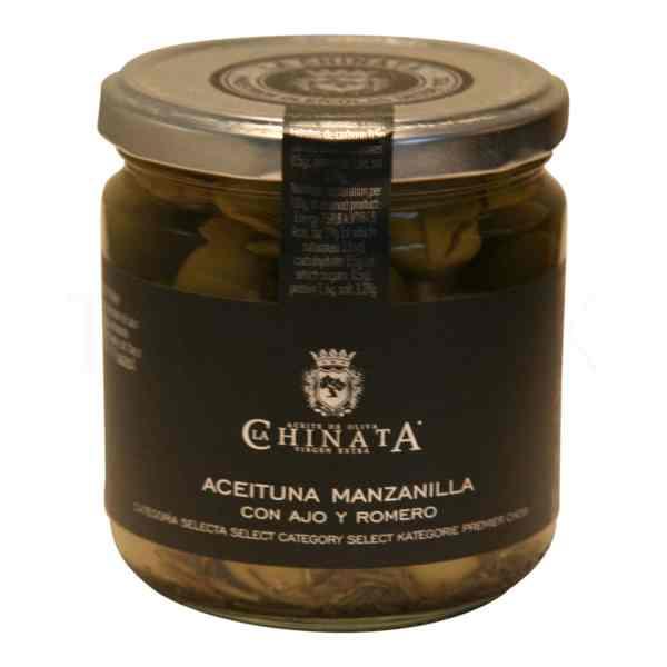 Topvine La Chinata – La Chinata – Groenne oliven med rosmarin & hvidloeg, 200 gr