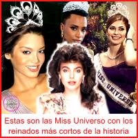Estas son las Miss Universo con los reinados más cortos de la historia