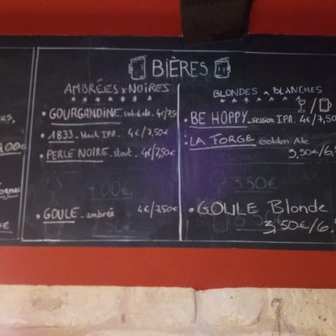 La carte des bières