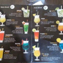 carte des cocktails