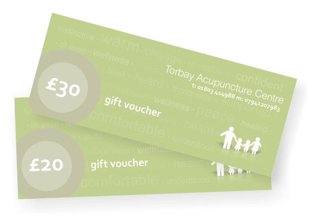 Acupunture Gift Vouchers. For acupuncute gift vouchers in Torquay, Paignton and Brixham