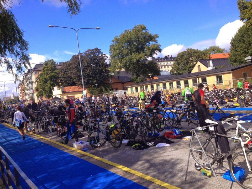 Transition area, Norr Mälarstrand Stockholm Triathlon 2014