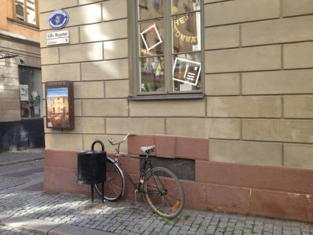 A bike on Lilla Nygatan Old Town Stockholm
