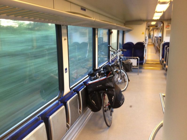 Totta's bike on a Arriva train from Leer Germany