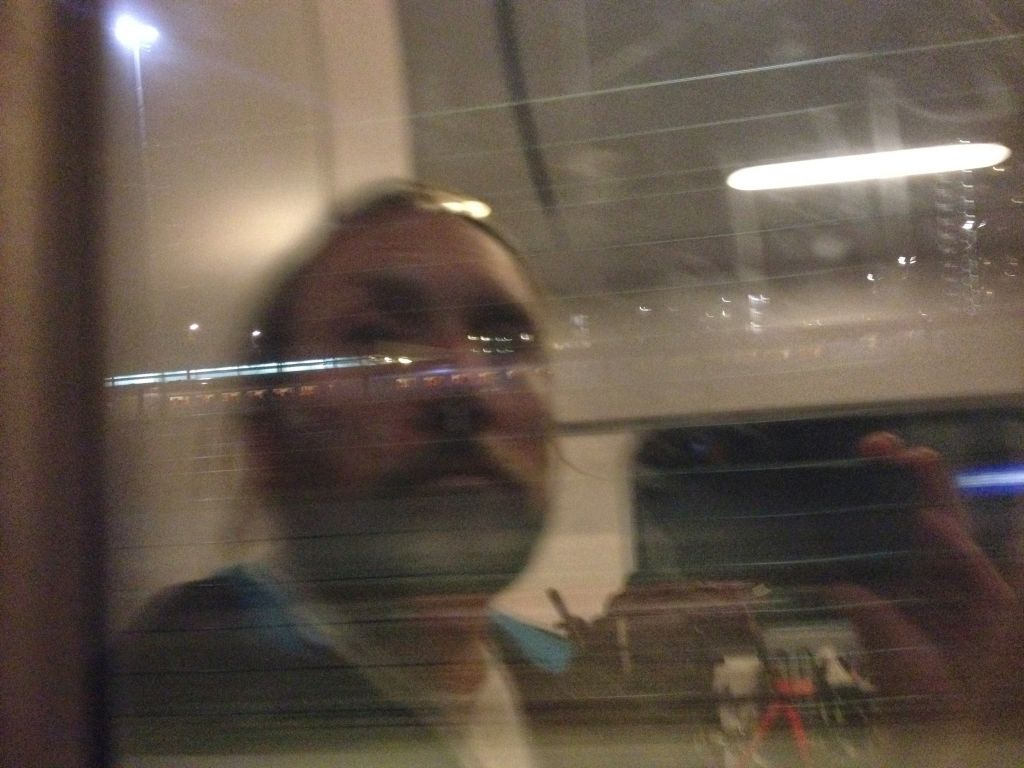 Totta on a train to Amsterdam