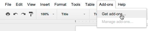 Google add ons menu