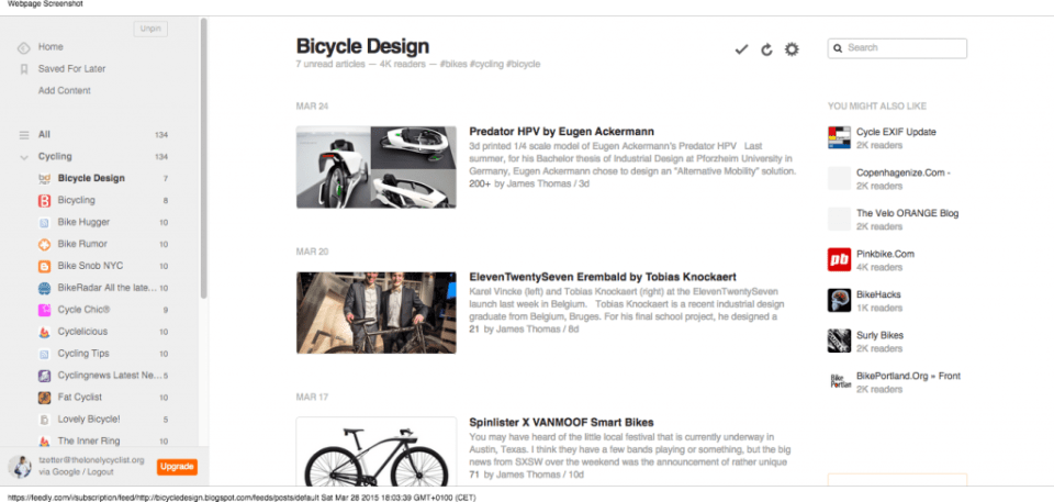 Feedly - Bicycle Design