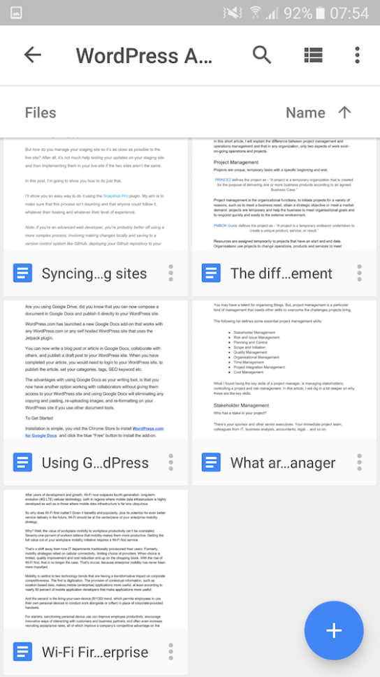 Guide on how to use Google Docs app on Android to write an