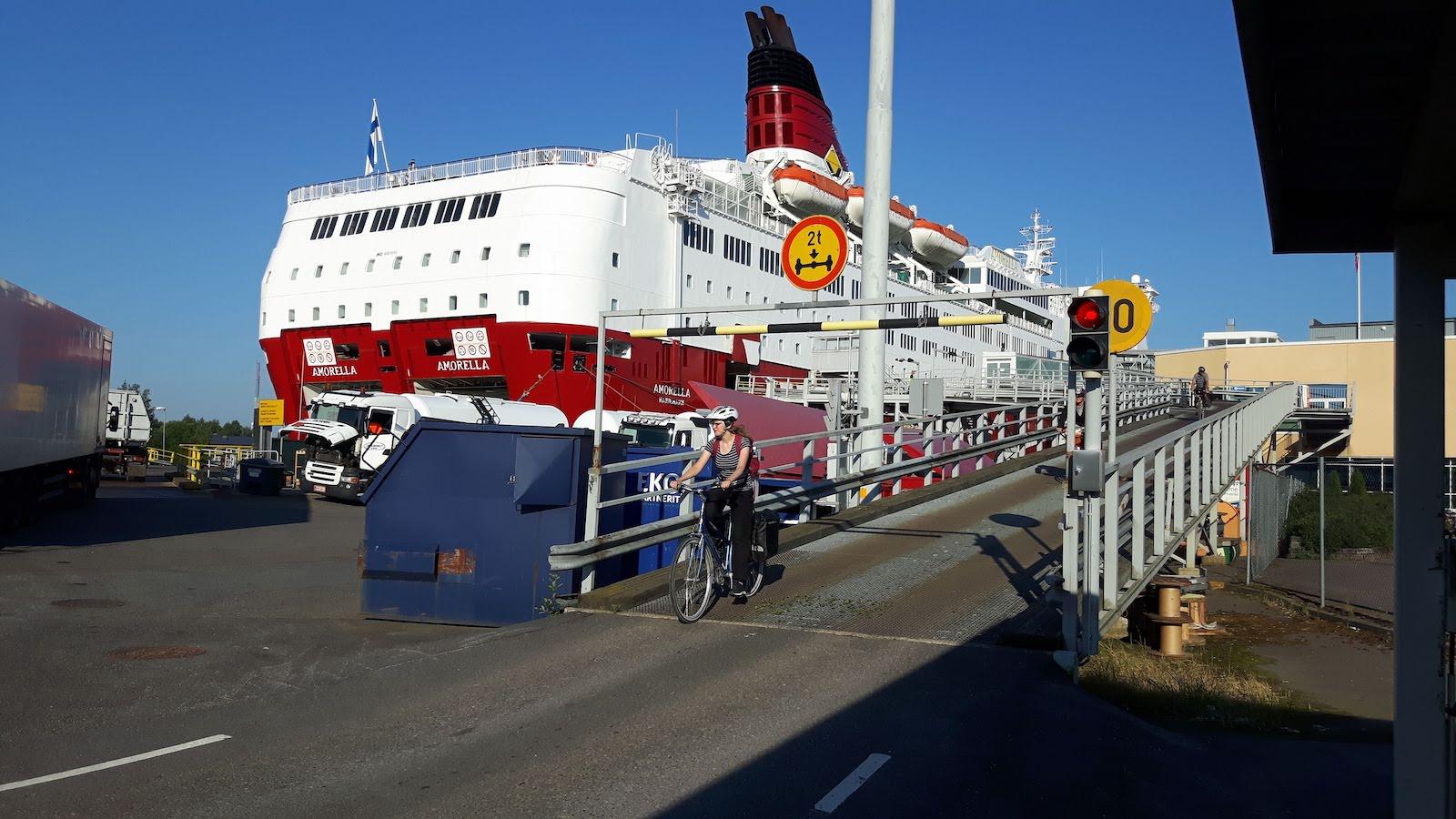 Leavining Turku for Sweden on a ferry