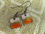 white orange and green enameled earrings