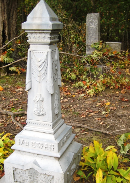 The McEwan monument at Bayview Cemetery