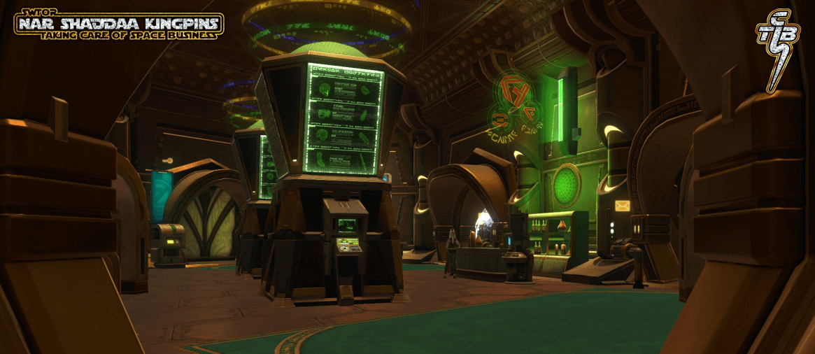 Main trading room - also known as the Green Room where space bucks are made