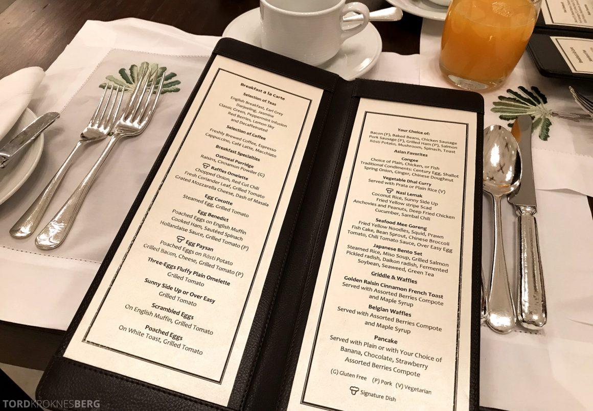 Raffles Hotel Singapore frokostmeny