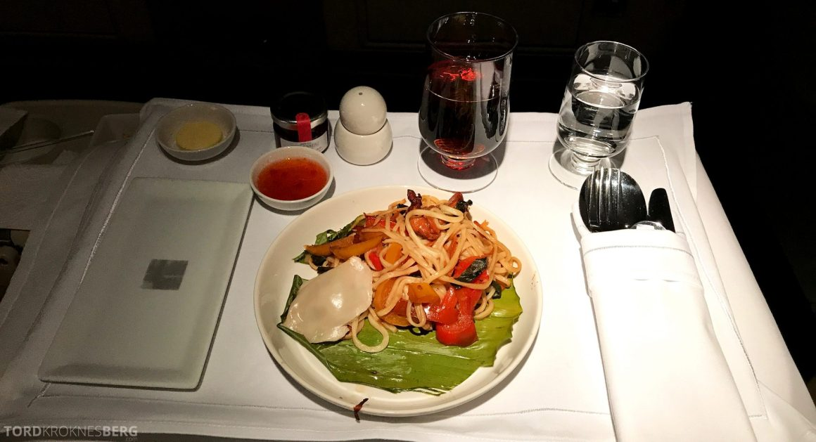 Singapore Airlines Business Class Wellington Canberra Changi middag
