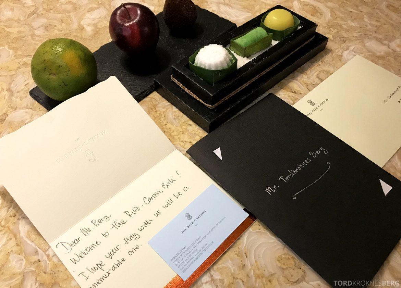 Ritz-Carlton Bali velkomstgave