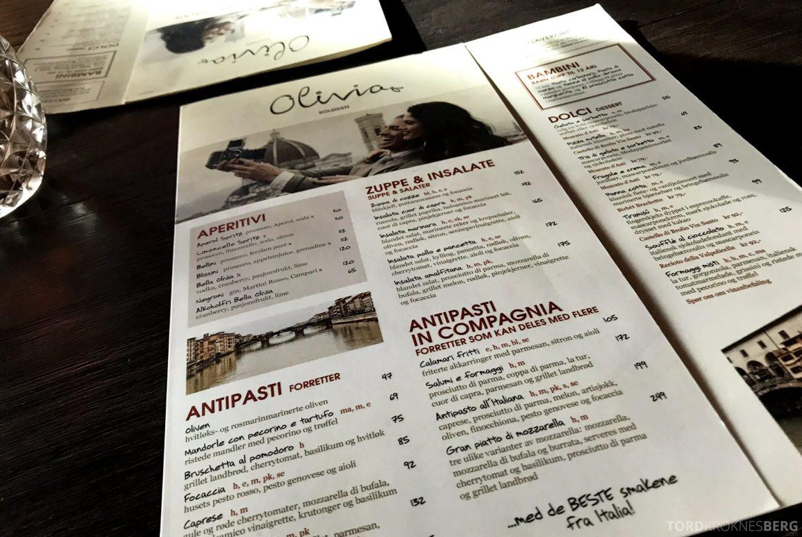 Restaurant Olivia Solsiden Trondheim meny