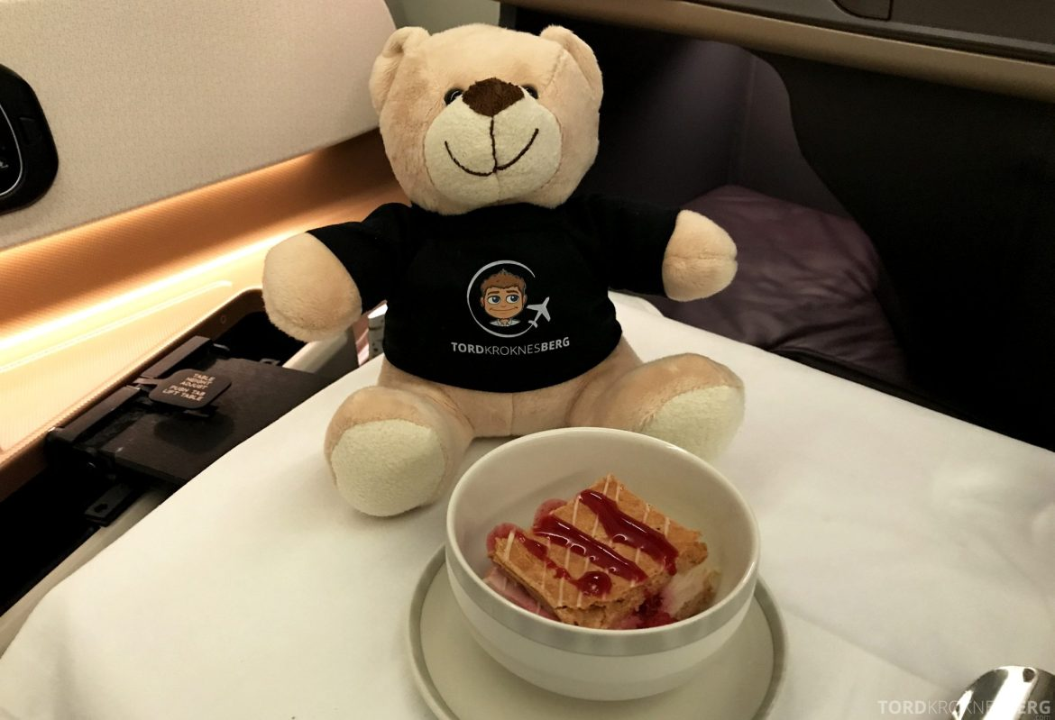Singapore Airlines Business Class Moskva Stockholm reisefølget kake